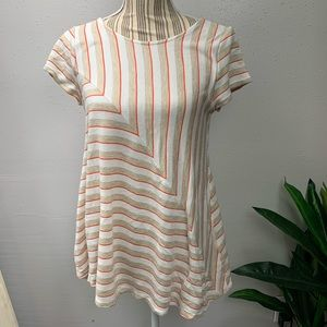 Puella Anthropologie Striped Flowy Tunic Top L